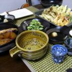 天ぷらとぶりかまの貴族夕食 【ぐい呑み】小雪釉 青濁垂【酒器】釉の酒器 料理とぐい呑み(22)