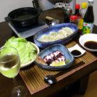 「海老とアボガドの水餃子鍋」 【楕円皿】薄紫雲 【片口鉢】心の葉 料理で使う啓蔵作品