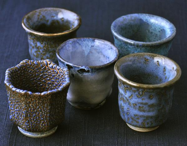 青色のぐい呑みたち 萩原啓蔵 陶芸作品 青の釉薬