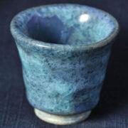 啓蔵の青い釉薬 ぐい呑み「淡青波」