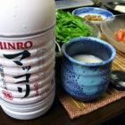 「韓国風チョングッチャンチゲ(納豆鍋)」【ぐい呑み】虫喰釉碧衣湯のみ  料理とぐい呑み(38)