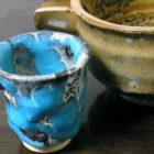 【ぐい呑み】水青流【楕円鉢】楕円小皿 【酒器】釉の酒器 料理とぐい呑み(47)
