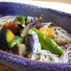 【楕円鉢】薄紫雲 シーフードマリネ冷やしあごうどんに素揚げ野菜添え(ご感想)