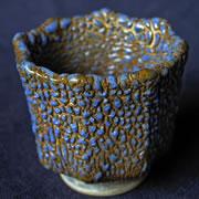 ぐい呑み, ブルーの釉薬, 個性的, 陶芸作品, 青冠