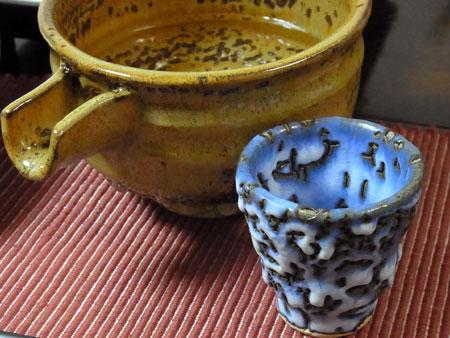 『若ごぼう鍋 』 料理とぐい呑み(63) 釉の酒器 青濁垂