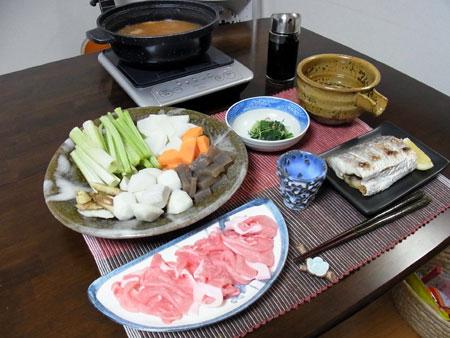 『若ごぼう鍋 』 料理とぐい呑み(63) 青濁垂