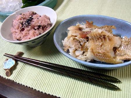 めで鯛鍋 赤飯