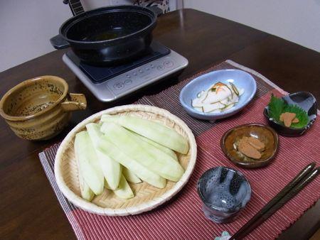 河豚の糠漬けと茄子のか焼き鍋