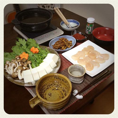 『貝柱のゼイタク鍋 』 料理とぐい呑み(83)