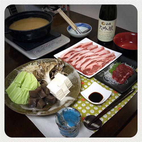 『牡丹鍋 』 料理とぐい呑み(87)