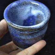 ぐい呑み 「青波」 青と白の釉薬の重ね掛け