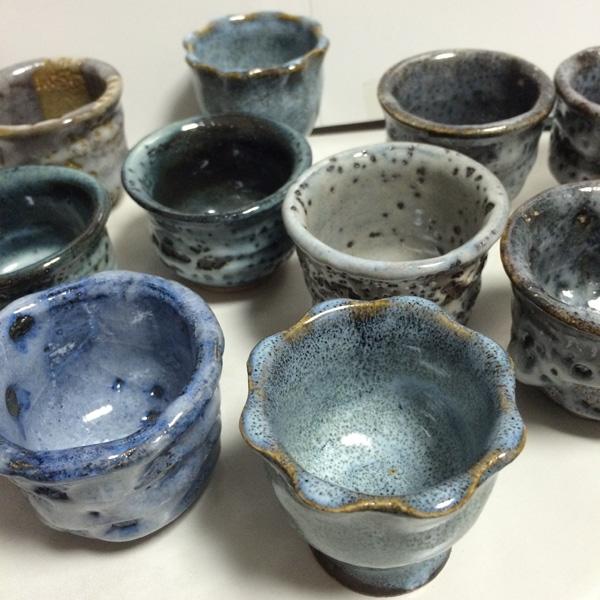 新しい陶芸作品 ぐい呑みたち。