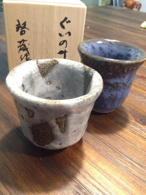 【お客様からのご感想】ぐい呑み 蒼釉波 紬紋釉(小)